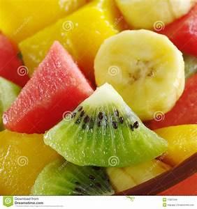 Fresh Fruit Salad: Kiwi, Banana, Watermelon, Mango Stock ...