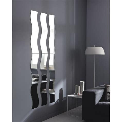 porte de placard cuisine miroir non lumineux découpé vague l 20 x l 160 5 cm vague