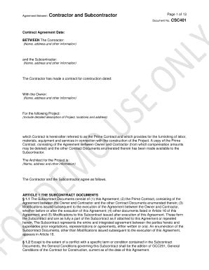 standard form of agreement between owner and contractor subcontractor agreement forms and templates fillable