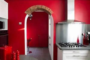 peinture cuisine moderne 10 couleurs tendance cote maison With good idee deco pour maison 10 cuisine rouge cerise