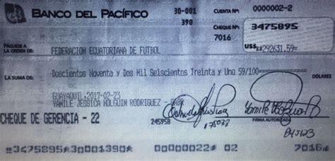 El Banco del Pacífico sí pagó 292 631dólares a la FEF ...