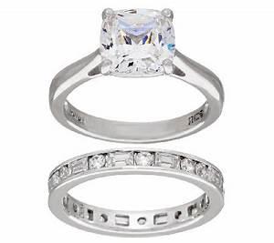 diamonique 100 facet cushion bridal ring set platinum With qvc wedding ring sets