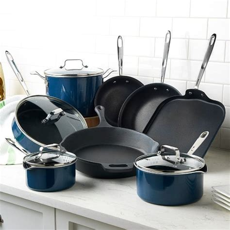 emeril   clad esd hard enamel  piece cookware set blue wwwyourcookwarehelpercom