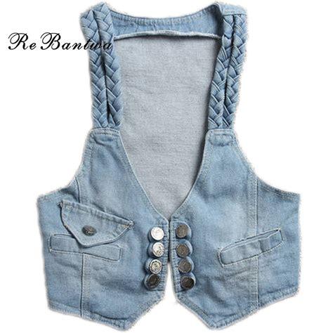 Rebantwa Spring Women Denim Vest Jeans Windproof Denim Sleeveless Jacket Crop Tops Waistcoat ...