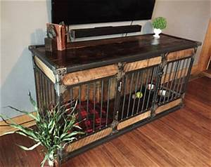 pet furniture etsy With wood and metal dog crate