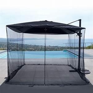 Parasol Déporté Carré : moustiquaire pour parasol d port carr 3 x 3 m parasol voile et paravent eminza ~ Mglfilm.com Idées de Décoration