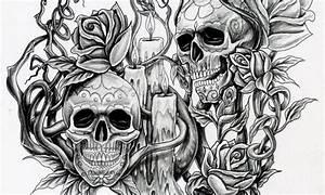 Dessin Tete De Mort Avec Rose : tatouage t te de mort dessin tuer auf ~ Melissatoandfro.com Idées de Décoration