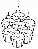Coloring Dessert Printable Cupcake Popular sketch template