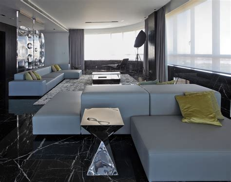grey sofas dark marble floor tiles modern apartment