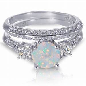 Ring Set Silber : white gold sterling silver round cut white fire opal wedding engagement ring set ebay ~ Eleganceandgraceweddings.com Haus und Dekorationen