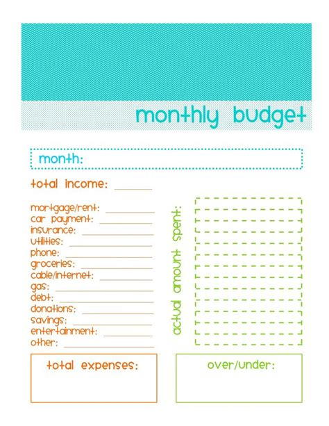 Best 25+ Monthly Budget Printable Ideas On Pinterest  Free Budget Planner, Budget Binder And