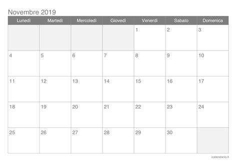 calendario novembre da stampare icalendarioit