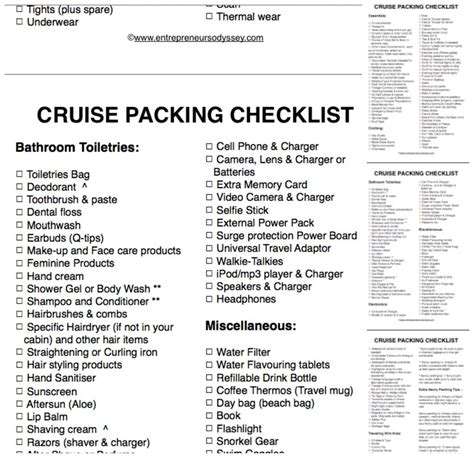 The Ultimate Cruise Packing Checklist | Entrepreneur's Odyssey