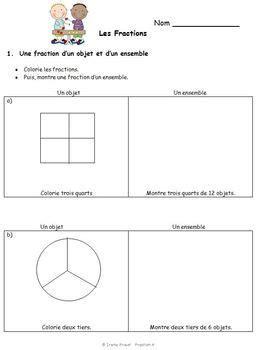french immersion fraction worksheets grade 3 4 5