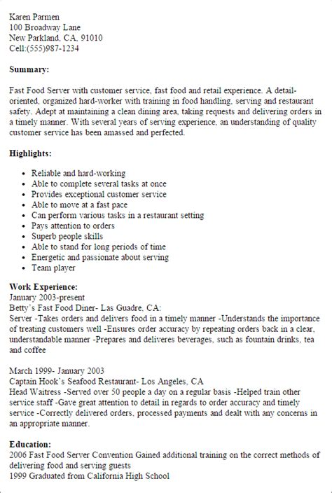 Fast Food Manager Resume Skills by Professional Fast Food Server Templates To Showcase Your Talent Myperfectresume