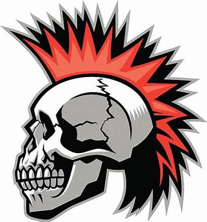 Mohawk Skull Clip Vector Clipart Hairstyle Illustration