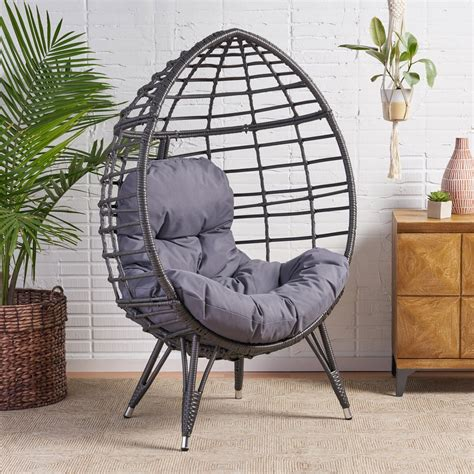 Swing hanging egg rattan chair outdoor garden patio hammock stand porch cushions. Tris Indoor Wicker Egg Chair with Cushion - GDF Studio