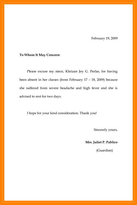 excuse letter for student absence 7 example of absence letter penn working papers 22379