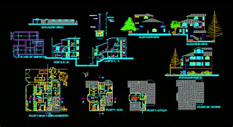 Terraced Houses with Garage 2D DWG Plan for AutoCAD