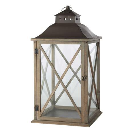 lanterne de jardin en bois gris 233 h 72 cm leontine maisons du monde