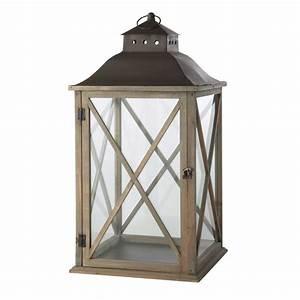 Lanterne Exterieur A Poser : lanterne de jardin en bois gris h 72 cm leontine ~ Dailycaller-alerts.com Idées de Décoration