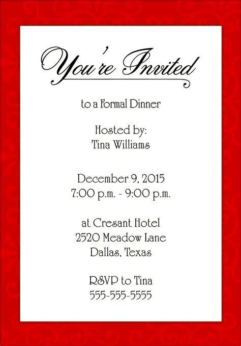 formal invitation template dinner invitation sle
