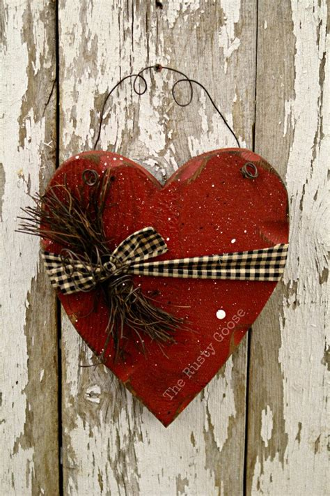 Valentine Decor Primitive Wood Heart Barn Red Rustic