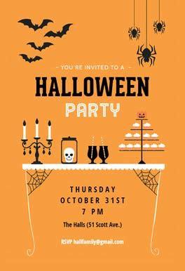 spooky treats  halloween party invitation template