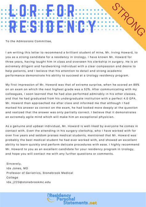 sle letter of recommendation for residency