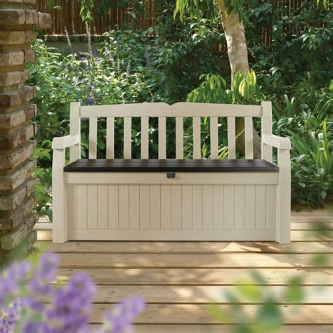 box bench keter 70 gal all weather outdoor patio storage bench