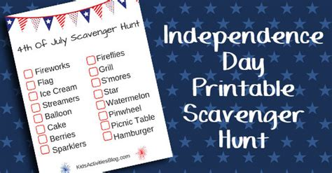 fourth  july printable scavenger hunt