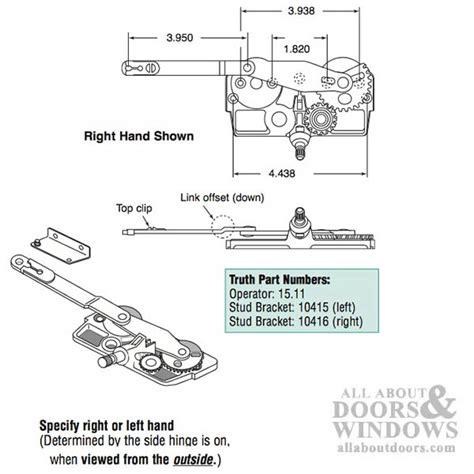 truth dyad casement operator wood windows link offset hand