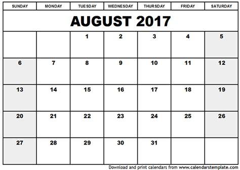 calendar template august 2017 august 2017 calendar pdf printable template with holidays