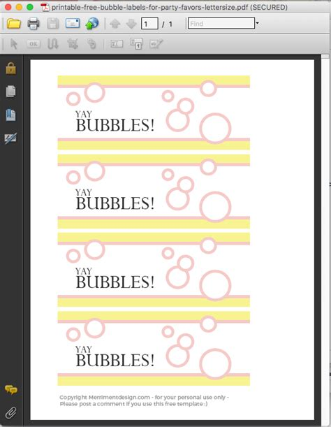 printable  bubble labels  party favors merriment