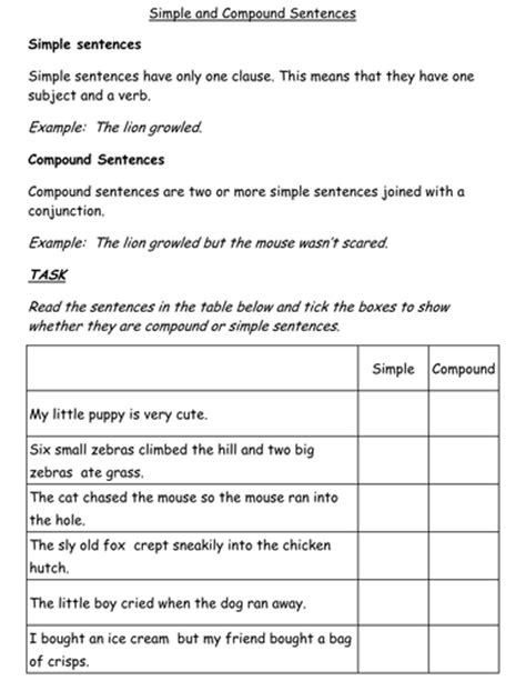 simple and compound sentences worksheet by jessplex