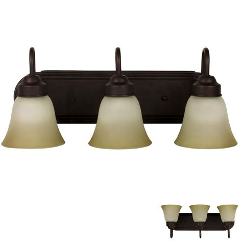 rubbed bronze three globe bathroom vanity light bar