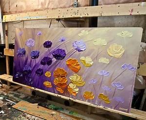 Painting - purple flowers painting original textured