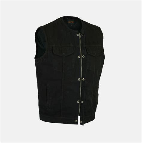gear bag 02 collarless of anarchy black denim vest with concealed