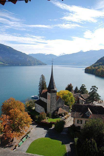 Lake Thun Panorama From Spiez Castle Switzerland