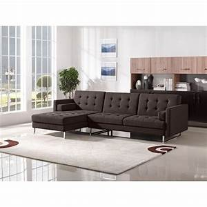 Modern tufted sectional sofa with chaise metropolis design for Metropolitan sectional sofa chaise