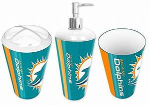 Miami dolphins nfl football 3pc bathroom accessory set for Bathroom supplies miami