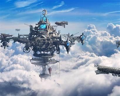 Steampunk Sky Ships Clouds Desktop Wallpapers Wallpapermaiden