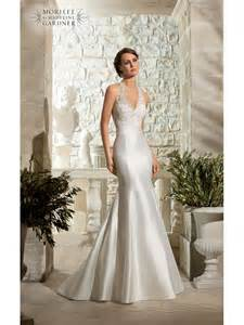 wedding dresses uk designer mori 5311 lace halterneck fishtail gown designer back