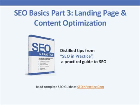 Seo Fundamentals Guide by Seo Basics Part 3 Landing Pages And Content Optimization