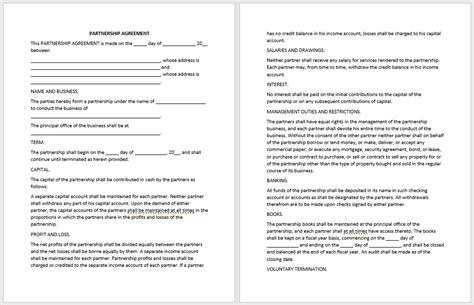 partnership agreement templates   samples