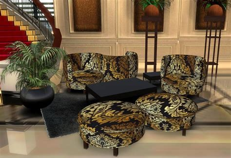 life marketplace gold black damask plush living