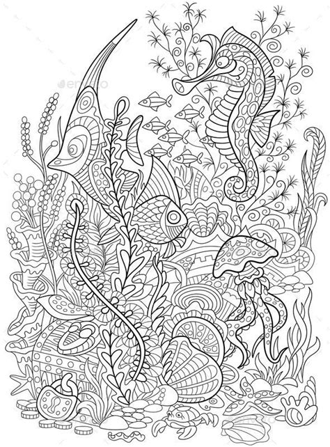 coloring page  underwater world  fish seahorse