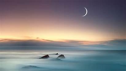 Moon Sea Faded Wallpapers Nature Sky Duaa