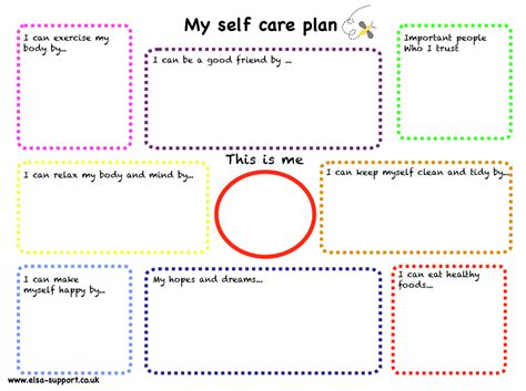 Self Care Plan Template by My Self Care Plan Elsa Support