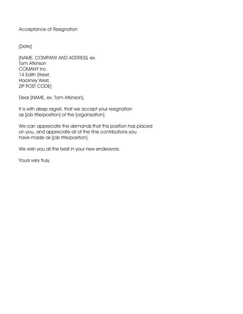 Resignation Acceptance Letter - Letter example from accepting an employee's resignation and